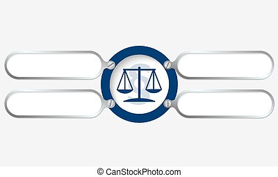 four metal frame for your text and law symbol