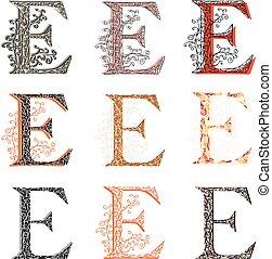 Set of fishnet letter E. - Set of variations fishnet (lace)...