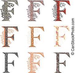 Set of fishnet letter F - Set of variations fishnet lace...