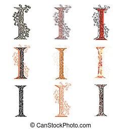 Set of fishnet letter I - Set of variations fishnet lace...