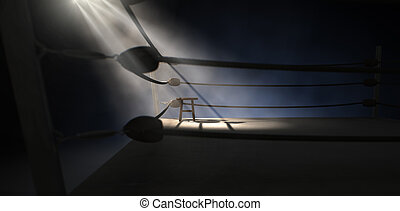 Vintage Boxing Corner And Stool - A dramatic view of the...