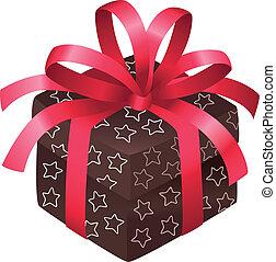 Christmas box - Brown christmas box with shite stars and a...