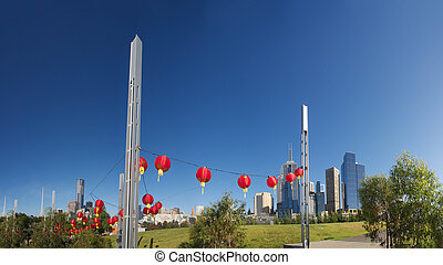 asian culture in melborne - Chinese lanterns with Melbourne...