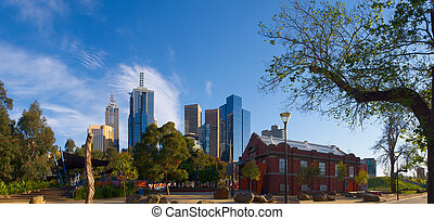 Melbourne australia - melbourne skyline on a bright spring...