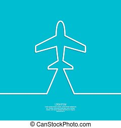 Icon airplane and banner for text. Outline. minimal.