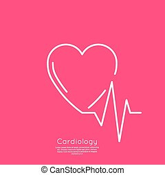 Cardiogram with heart. Logo Cardiology Medical Center....