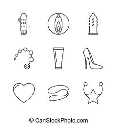 Sex shop icons. Set of Outline stroke icons on white...