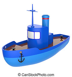 Abstract toy ship isolated on white background. 3d render.