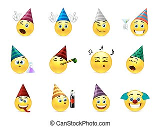 Smiles party - Funny smileys in caps for the holiday...
