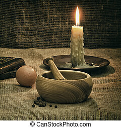 Rural Still Life With Mortar, Candle And Egg
