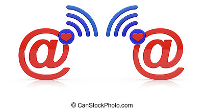 Internet love concept Abstract e-mail symbols isolated on...