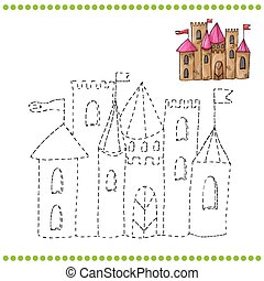 Connect the dots and coloring page - castle