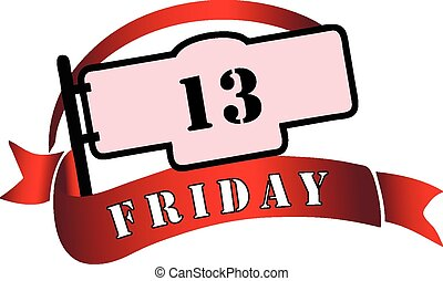 Banner by Friday the 13th - a day tribulations. Vector...