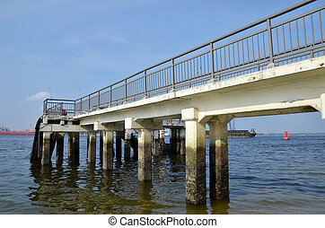 Punggol jetty - Punggol beach with blue sky in Singapore