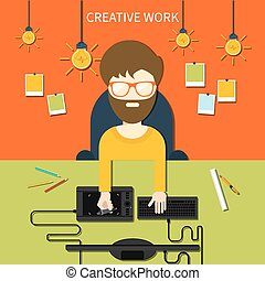 Creative work and designer tools concept - Concept for...