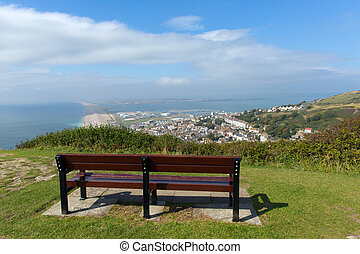 View over Portland and Chesil beach Dorset England UK part...