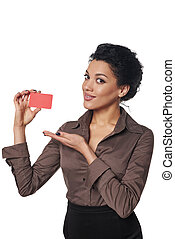 Business woman showing blank credit card - Smiling african...
