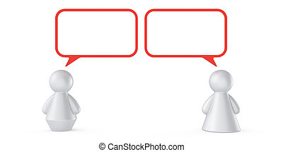 Abstract male and female figures with speech bubbles...