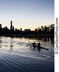 Melbourne  and rowers on the yarra river