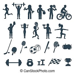 Exercises with weights and warm-up icons - Icons set of man...