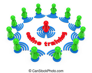 Internet online training concept. Abstract 3d illustration.