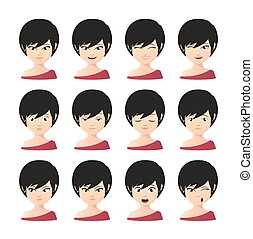 Female asian avatar expression set - Illustration of a...