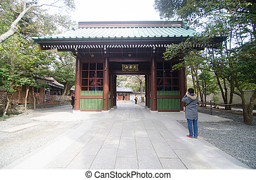 Main Gate of Kotoku-in Temple Where Daibutsu the Great...