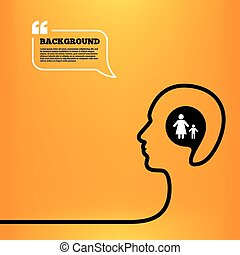 One-parent family with one child sign icon - Head think with...