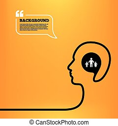 One-parent family with two children sign icon - Head think...
