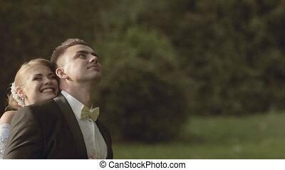 Happy and enamored bride and a groom - Happy and enamored...