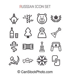 Set of russian icons for web design, sites, applications,...