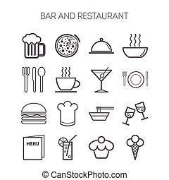 Set of simple icons for bar, cafe and restaurant
