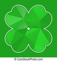 green polygon cloverleaf with white contour on a green...
