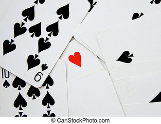 background of cards with heart of ace standing out from the...
