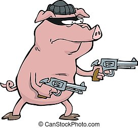 Pig robber with two revolvers vector illustration