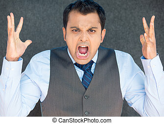 Angry screaming boss, hands in air - Closeup portrait of...