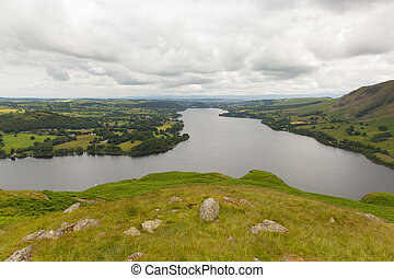 Elevated view of Ullswater Lakes uk - Elevated view of...