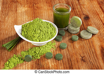 Chlorella, spirulina and wheat grass. - Detox. Chlorella...