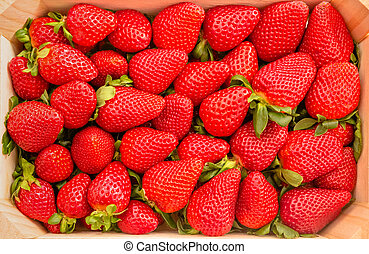 Closeup of strawberries box view from above - Closeup of...