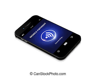 mobile phone with contactless payment isolated over white...