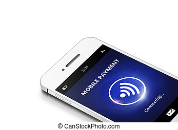 mobile phone with moble payment isolated over white...