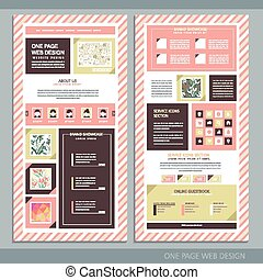 trendy pink stripe one page website design - trendy one page...