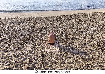 hombre, playa, anciano, Sentado
