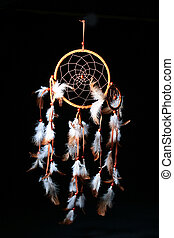 Dream Catcher - Dream catcheris on a black background, used...