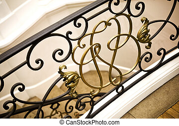 Handrail - Wrought iron handrail in a French house