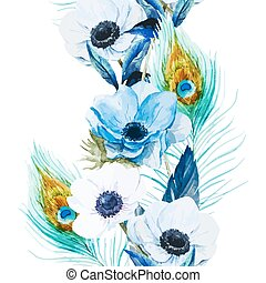 Anemones - Beautiful vector pattern with nice watercolor...