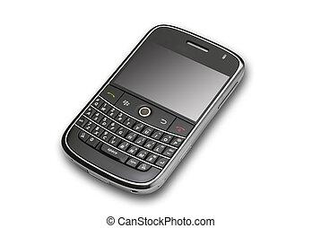 Black PDA angle, isolated - angle view of modern pda on...