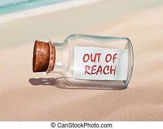 out of reach message in a bottle