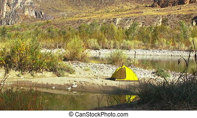 Yellow tent on the autumn river bank against yellow forest