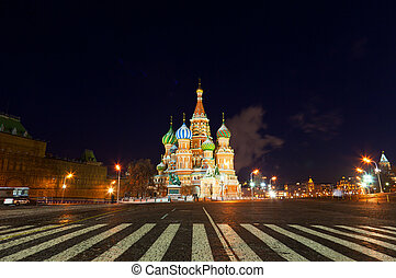 St. Basil's Cathedral and foot transition zebra in the foreground, night. Moscow